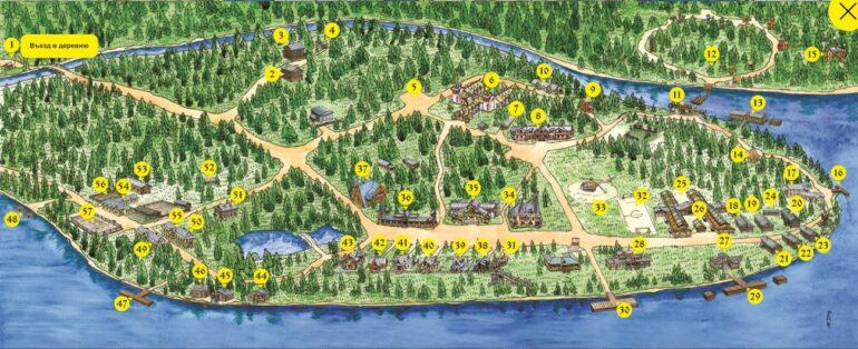 Карта достопримечательностей деревни Мандроги
