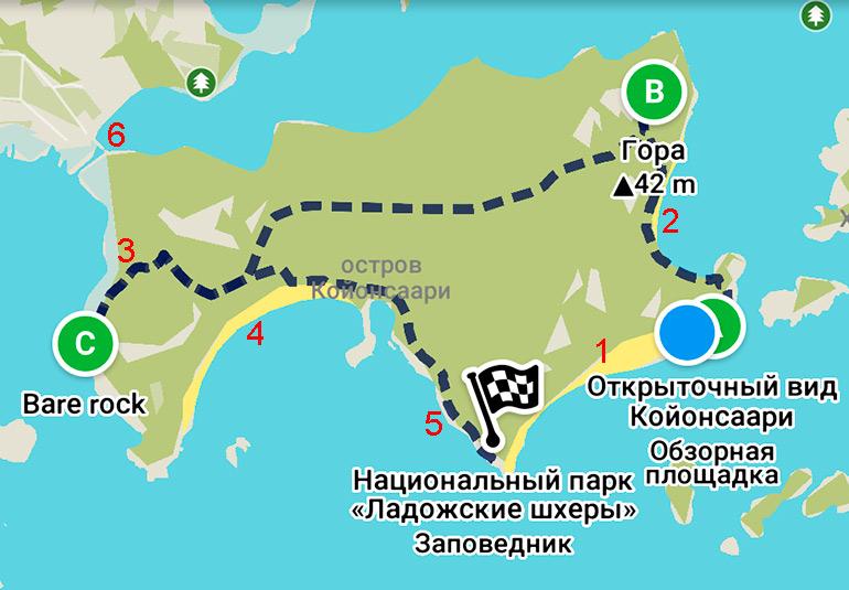Остров Койонсаари маршрут по острову на карте